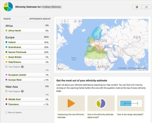 AncestryDNA Report Example