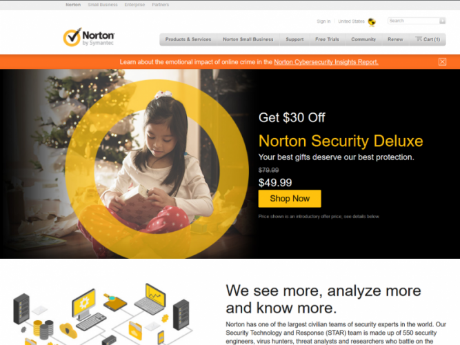 Norton Security Home Page