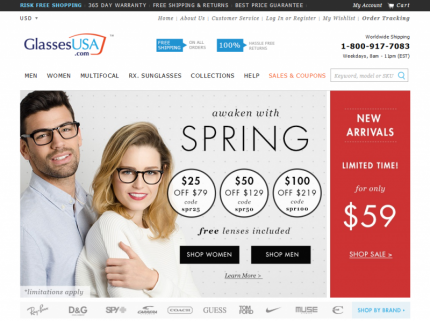 GlassesUSA Home Page