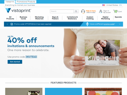 Vistaprint Home Page
