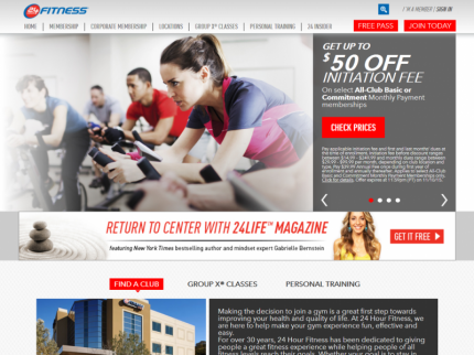 24 Hour Fitness Home Page
